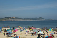 Hottest day of the year .Lyme Regis Beach Royalty Free Stock Photography