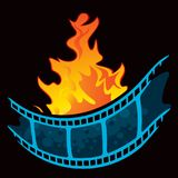 Hottest movie premiere symbol. Film at fire created in graffiti style isolated on black background Stock Images