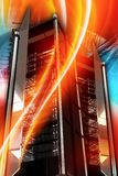 Hottest Servers. Hottest Server Deals. Hosting and Networking Theme. Cool Colorful Vertical Hosting Theme with Server Racks and Burning Orange-Red Wavy Ornaments Stock Photo