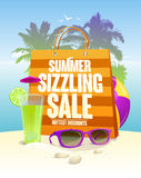 Hottest summer sizzling sale design with shopping bag Royalty Free Stock Photos