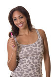 Hottie with a perfect smile holding a toothbrush. Royalty Free Stock Photography