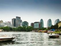 Hou Hai sjöPeking Kina royaltyfri foto