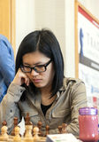 Hou Yifan. Professional chess player China, Playing chess tournament Gibraltar Tradewise Festival in January and February 2015. It is an editorial image stock photo