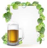 Houblon branche et verre de bière illustration de vecteur