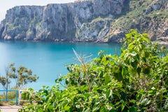 Houcima海滩和波浪和岩石 库存图片