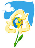 Houd de Aarde - recycleer. Allegorie met bloem, bol en hemel Stock Afbeelding
