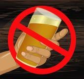 Houd de alcohol tegen Een mens biedt een drank aan, houdend een glas met bij vector illustratie