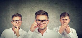 Houd een geheim is stil concept Gesloten mens die mond gesloten houden stock afbeelding