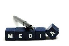 Houd een oog op de media Stock Foto's