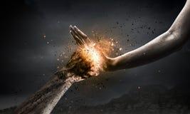 Houd het geweld tegen Stock Foto