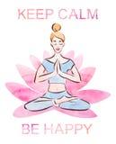 Houd kalm en ben gelukkig de affiche, vrij jonge meisje het praktizeren lotusbloem in een reuzelotusbloembloem, waterverf met het vector illustratie