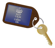 Houd Kalm en Carry On Keyring Stock Foto's