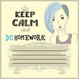 Houd kalm en doe uw thuiswerk Stock Afbeelding