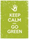 Houd Kalm en ga Groen Eco-Afficheconcept Vector Creatieve Organische Illustratie op Document Achtergrond Stock Afbeelding