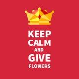 Houd kalm en geef bloemen Royalty-vrije Stock Fotografie