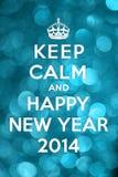 Houd Kalm en Gelukkig Nieuwjaar 2014 Royalty-vrije Stock Afbeelding