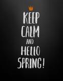 Houd kalm en hello de lente! royalty-vrije illustratie