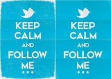 Houd Kalm en volg me op Twitter Stock Afbeelding
