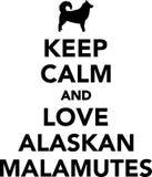 Houd kalme en liefdemalamutes Van Alaska Stock Fotografie