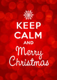 Houd kalme en Vrolijke Kerstmis Stock Foto