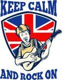 Houd Kalme Rots op Britse Vlag Koningin Granny Guitar Stock Afbeelding