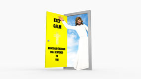 Houd Kalme Slagdeur Jesus Christ Waving Illustration Royalty-vrije Stock Foto