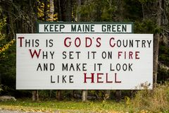 Houd Maine Green Sign Royalty-vrije Stock Fotografie