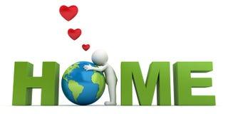 Houd van de 3d man die van het aardeconcept groene bol in woordhuis koesteren Stock Afbeelding
