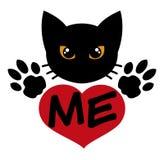 Houd van de Zwarte Kat Stock Afbeelding