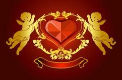 Houd van kaart met engelen Royalty-vrije Stock Afbeeldingen