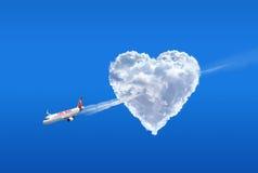 Houd van luchtvaartlijn. De liefde is in de lucht stock fotografie