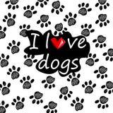 Houd van me, houd van mijn hond Getrokken hand royalty-vrije illustratie