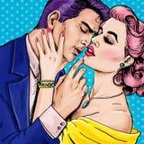 Houd van paar Pop Art Couple Pop-artliefde De prentbriefkaar van de valentijnskaartendag De scène van de Hollywoodfilm De liefde  Royalty-vrije Stock Foto's