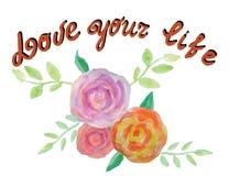 Houd van uw Leven Retro Etiket met Kalligrafische Elementen Uitstekend hand het van letters voorzien ontwerp met waterverfbloemen Royalty-vrije Stock Afbeeldingen