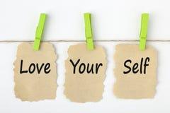 Houd van Uw Zelfconceptenwoorden stock afbeelding