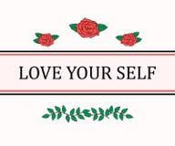Houd van Uw Zelfslogan grafisch met rozen en strepen op de witte achtergrond Moderne maniervector voor t-shirt T-stukdruk royalty-vrije illustratie