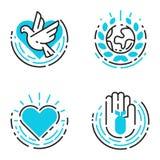 Houden de blauwe pictogrammen van het vredesoverzicht van de de zorghoop van de wereldvrijheid van internationale vrije de symbol Stock Foto's