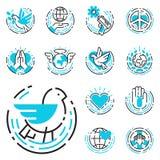 Houden de blauwe pictogrammen van het vredesoverzicht van de de zorghoop van de wereldvrijheid van internationale vrije de symbol Royalty-vrije Stock Foto's