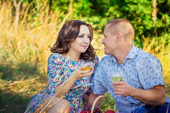 Houdend van paar bij picknick Stock Foto