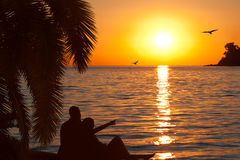 Houdend van paar dat op mooie zonsondergang let Royalty-vrije Stock Afbeeldingen