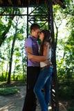 Houdend van paar die in de zomer zonnig park omhelzen stock afbeeldingen