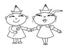 Houdend van paar, het trekken royalty-vrije illustratie