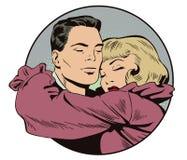 Houdend van Paar Mensen in retro stijl vector illustratie