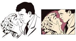 Houdend van Paar Mensen in retro stijl stock illustratie