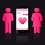 Houdend van paar van menselijke vorm en slimme telefoon met praatjebellen Royalty-vrije Stock Afbeeldingen