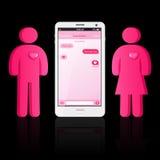 Houdend van paar van menselijke vorm en slimme telefoon met praatjebellen Stock Foto's