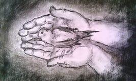 Houdende van handen Hand getrokken koolstoftechniek stock illustratie