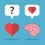 Houdende van hersenen, het denken hart Royalty-vrije Stock Foto's