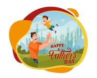 Houdende van Vader Playing met Blije Glad Boy Banner stock illustratie