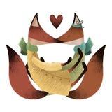 Houdende van vossen Gelukkige de dagprentbriefkaar van Valentine ` s stock illustratie
